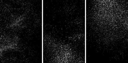 White grainy texture isolated on black background. Damaged textured. Snow design elements. Set vector illustration,eps 10.