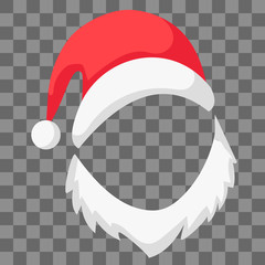 Red Santa Claus hat beard mocap, vector festive decoration pictures Santa hat and beard, symbol of Christmas and new year