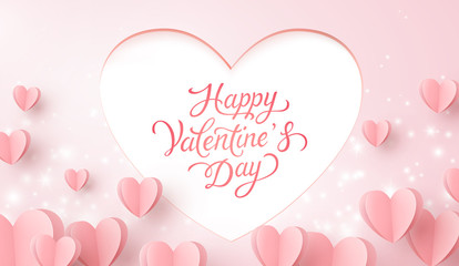 Happy Valentine's Day postcard. Paper flying hearts with lettering, glowing lights on pink background. Vector symbols of love for romantic greeting card design.