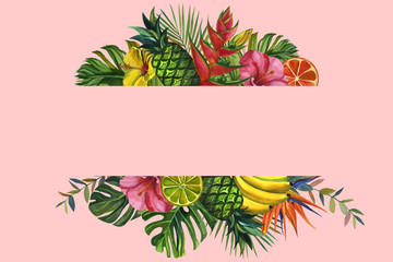 Watercolor flowers frame. with tropical palm leaves, bananas, pineapples, flowers. Seamless pattern