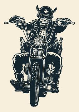 crazy biker skull in motorcycle glasses, helmet with horns. biker symbol. engraving style. vector illustration.
