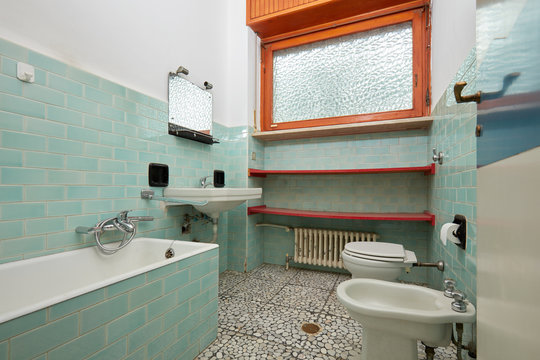 Normal bathroom in old apartment interior
