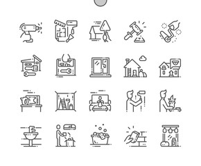Home Improvement Well-crafted Pixel Perfect Vector Thin Line Icons 30 2x Grid for Web Graphics and Apps. Simple Minimal Pictogram