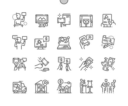 Auction Well-crafted Pixel Perfect Vector Thin Line Icons 30 2x Grid for Web Graphics and Apps. Simple Minimal Pictogram