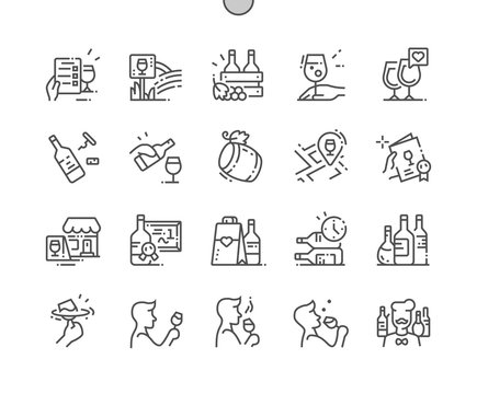 Wine Well-crafted Pixel Perfect Vector Thin Line Icons 30 2x Grid for Web Graphics and Apps. Simple Minimal Pictogram