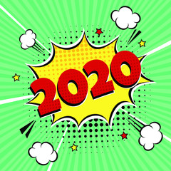 2020 happy new year christmas comic pop art speech bubble vector illustration. Colorful pop art style sound effect. Halftone, vintage comic sound effects isolated on rays background.
