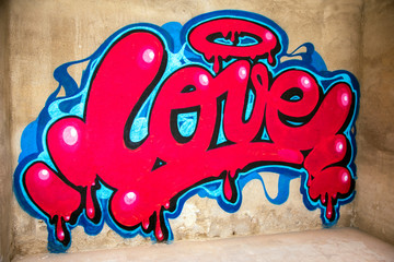 graffiti of word love on a wall