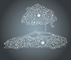 Obraz AI - Artificial intelligence car  - fototapety do salonu