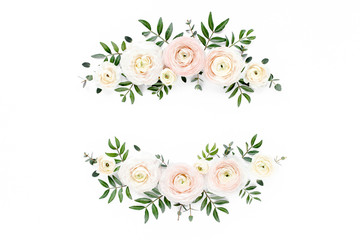Floral frame wreath of pink ranunculus flower buds and eucalyptus on white background. Flat lay, top view mockup. Frame of flowers.