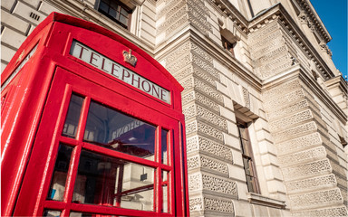 Traditional Red telephone box, Whitehall, London