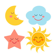 a set of celestial characters - cloud, star, sun, month. flat vector illustration isolated on white background