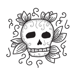 Skull in leaves, hand drawn vector illustration, doodle tattoo style