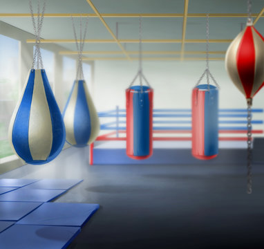 gym, boxing, equipment, background