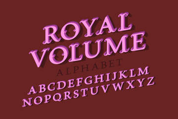 Royal volume isolated alphabet. 3d vintage letters font.