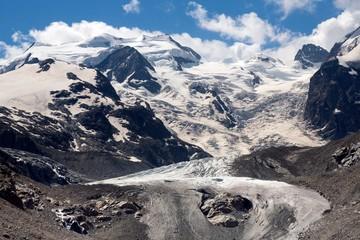 Morteratsch Glacier in Val Morteratsch with Bernina mountain group, Pontresina, Engadin, Grisons, Switzerland, Europe