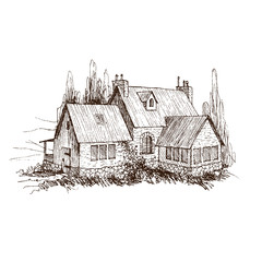 Rural landscape with old farmhouse and garden. Hand drawn illustration in vintage style. Vector design
