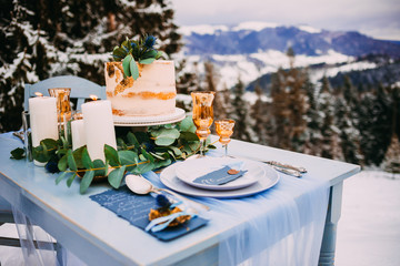 Pretty wedding decor in the winter style in the mountains
