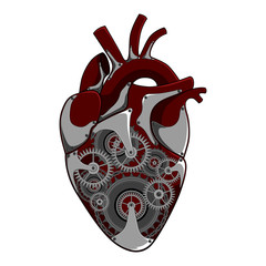 Vector image of a heart with a mechanism.