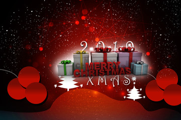 3d rendering merry christmas gift box