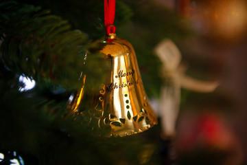 Merry Christmas bell, christmas decoration on a Christmas tree
