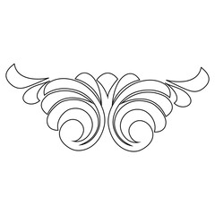 Vector hand-painted. Retro pattern antique style acanthus