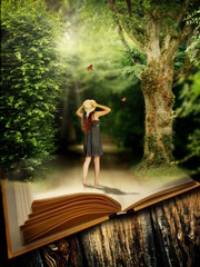 Fairytale book with magic forest