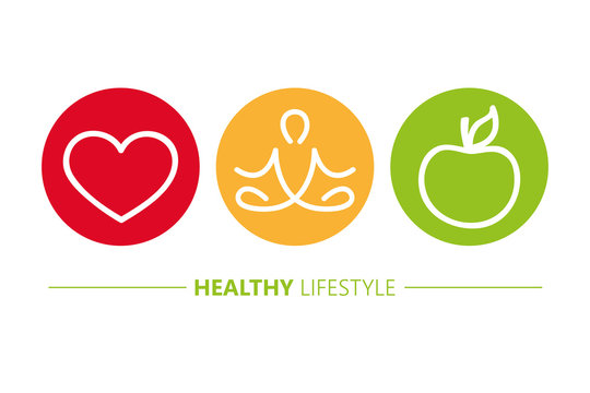 healthy lifestyle icons heart yoga and apple vector illustration EPS10