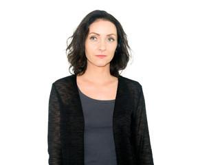 beautiful middle aged woman is sad, isolated on white background, studio photo