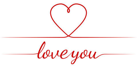 calligraphy text I love you and heart, vector graceful inscription Declaration of love, greeting card Valentine