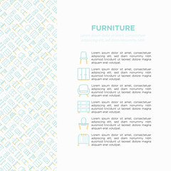Furniture concept with thin line icons: dressing table, sofa, armchair, wardrobe, chair, table, bookcase, bad, clothes rack, desk, wall shelves. Vector illustration, print media template.