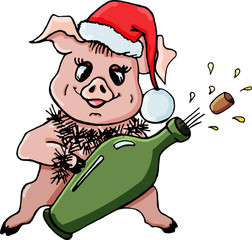 Pig vector illustration.Piggy symbol of the New Year.