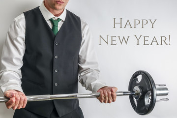 Well dressed man performing biceps curl. Concept for new years resolution and workout, exercise more next year.  - image
