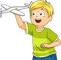 Kid Boy Stem Science Glider Illustration