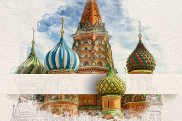 Fototapete - Stylized by watercolor sketch painting of St Basil's Cathedral on the Red Square in Moscow, Russia on a textured paper. Retro style postcard. Paper strip insert under one of the domes with copy space.