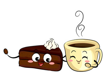 Mascot Sachetorte Cake And Coffee Illustration
