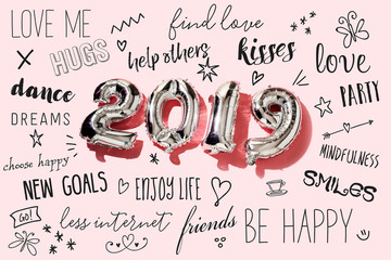 number 2019 and new years resolutions