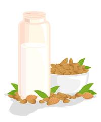Vegan Almond Milk Illustration