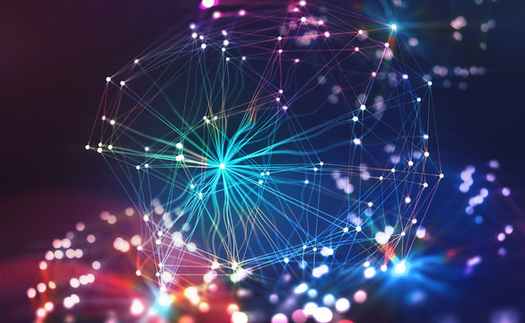 Artificial Neural Network. Big Data concept. Artificial intelligence in the technology of the future. 3D illustration of a polygonal mesh with bright flashes. Bokeh effect