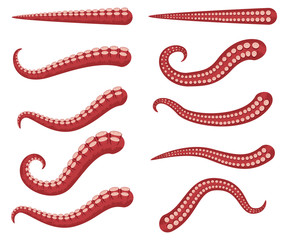 Octopus tentacles vector cartoon set isolated on a white background.