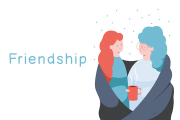 Friendship vector concept illustration with two happy women and red coffee cup in hand isolated on a white background.
