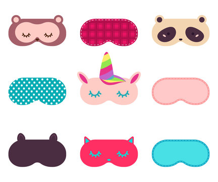 Sleeping eye mask with funny animal face. Vector simple cartoon icons set isolated on a white background.