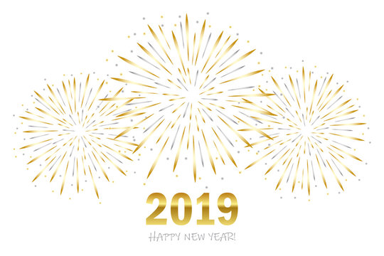 happy new year greeting card 2019 with gold and silver firework vector illustration EPS10
