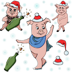 Piggy Seth. Pig, Bottle, hat and snowflakes.Vector illustration.