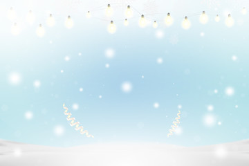 Christmas and New Year background with ribbon and light garlands, snowflakes and snowdrift. Flat vector illustration EPS10