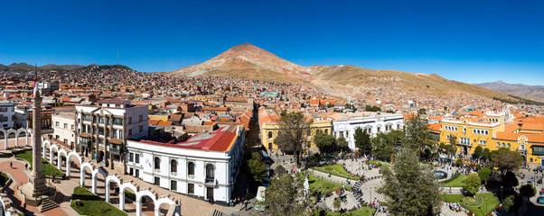 Panoramic city view of Potosí with Cerro Rico in the background Bolivia