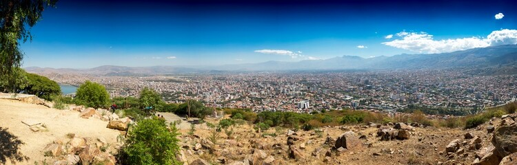 Panoramic city view of Cochabamba Bolivia