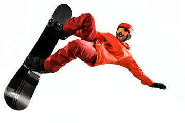 Portrait of young man in sportswear with snowboard isolated on a white studio background. The winter, sport, snowboarding, snowboarder, activity, extreme concept Wall mural