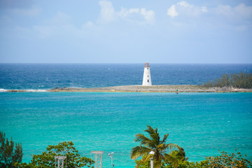 Nassau, Bahamas - MAY 4, 2018: View to the ocean and lighthouse from Fort Charlotte in Downtown of Nassau