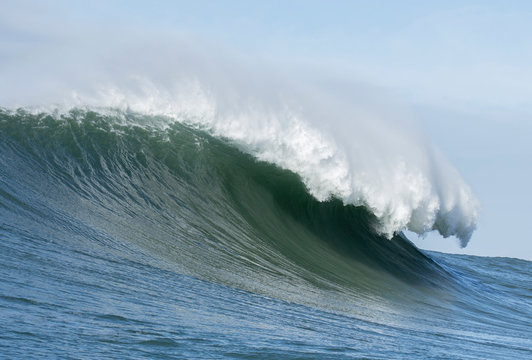 Big Wave Cresting at Mavericks Surf Spot