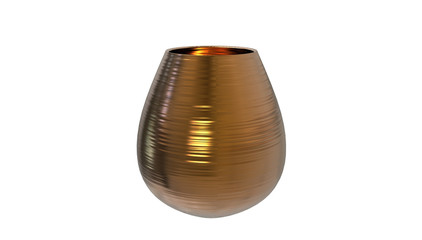 3d illustration of decorative copper vase isolated on a white background